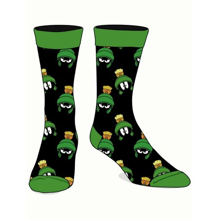 Looney Tunes Marvin The Martian Head Adult Crew Socks Mens Green/Black - image 1 of 1
