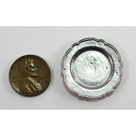 Dollhouse Miniature Polished Pewter Large Dinner (Pewter Dimmer)