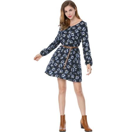 Unique Bargains Women's Floral Cut Out Back Oversize Shift Dress w Belt](Cut Out Floral Dress)
