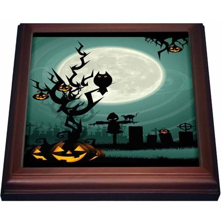 ONLINE 3Drose A Scary Halloween Scene With A Pumpkin, Haunted Tree Under A Big White Moon, Trivet With Ceramic Tile, 8 By 8-Inch