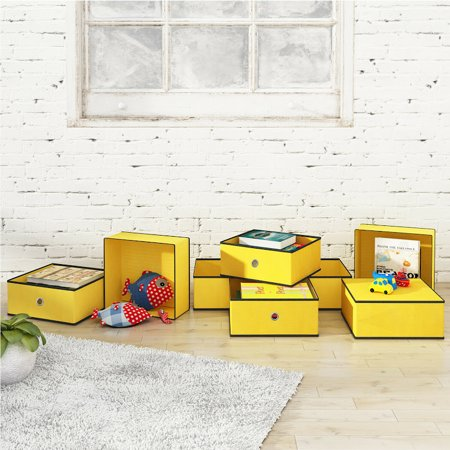 Foldable Storage Bins Cubes Fabric Cubby Basket Drawers Organizer, Set of 8, Dark Yellow Blue Storage Cubby