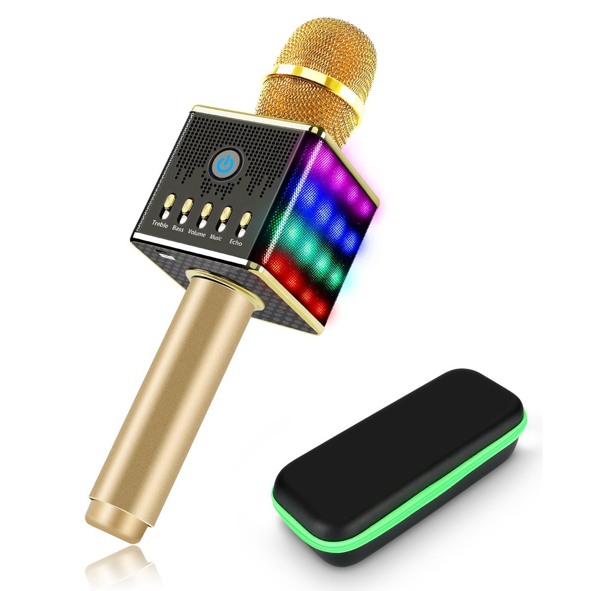 XoomBot Xi-08-Microphone Portable BlueTooth Wireless Karaoke Microphone with LED Light,... by