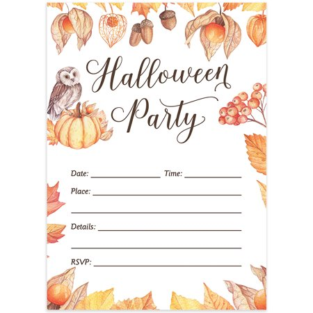 Halloween Party Invites & Envelopes ( Pack of 25 ) Rustic Shabby Chic Elegant Adult Party Large Blank 5x7
