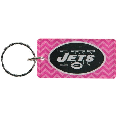 New York Jets Chevron Printed Acrylic Team Color Logo Keychain - Pink - No Size
