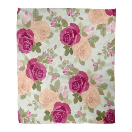 ASHLEIGH Flannel Throw Blanket Flower Roses Pattern Vintage Bud Retro Antique Color Elegance Soft for Bed Sofa and Couch 58x80 Inches