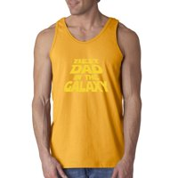 Trendy USA 715 - Men's Tank-Top Best Dad in The Galaxy Star Wars Opening Crawl 2XL Navy
