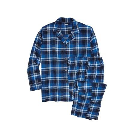Big And Tall Plaid Robe - Men's Big & Tall Plaid Flannel Pajama Set
