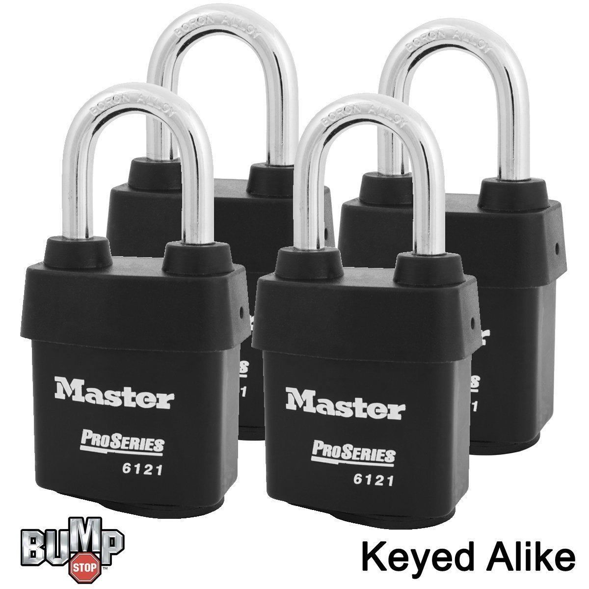 Master Lock - 6121NKALF-4 - Four (4) High Security Pro Series Padlocks w/ BumpStop Technology