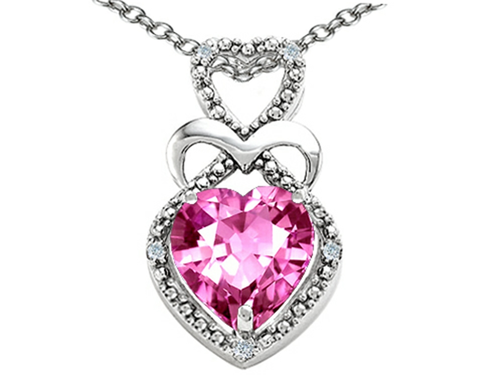 Tommaso Design Heart Shape 8mm Simulated Pink Tourmaline Pendant Necklace by