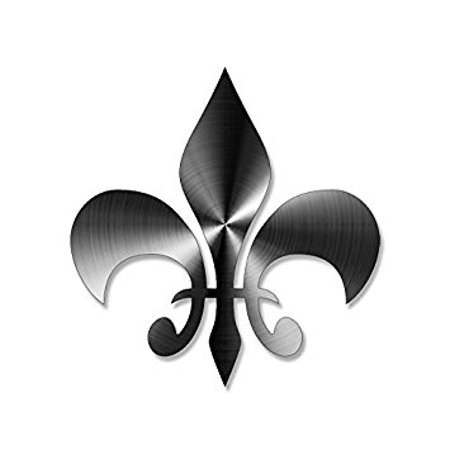 Stainless Steel Look: Fleur De Lis Shaped Sticker Decal (NON-Reflective vinyl new orleans) Size: 4 x 4 inch