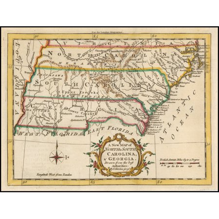 LAMINATED POSTER A New Map of North & South Carolina, & Georgia. Drawn from the best Authorities: By T. Kitchin Geogr. POSTER PRINT 24 x