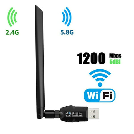 WiFi Adapter 1200mbps,Wireless USB Adapter Dual Band 2.4GHz/5.8GHz LAN Card 802.11ac Network Card for Desktop Laptop PC Support Windows 10/8.1/8 / 7 / XP/Vista/Mac OS 10.6-10.14 Mojave (Ac Wireless Desktop Card)