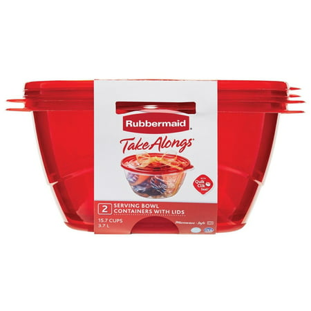 Rubbermaid TakeAlongs Serving Bowl Food Storage Containers, 15.7 Cup, 2-Pack, Red