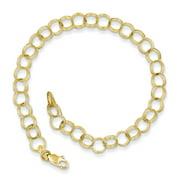10k Yellow Gold Triple Link Charm 8inch Bracelet