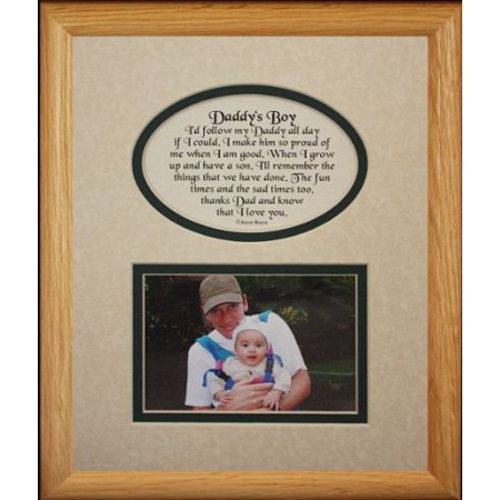 8X10 Daddy's Boy Picture & Poetry Photo Gift Frame ~ Cream/Hunter Green Mat ~ Heartfelt Keepsake Picture Frame For Dad From His Little Boy On Father's Day, Christmas, Birthday Or Valentines