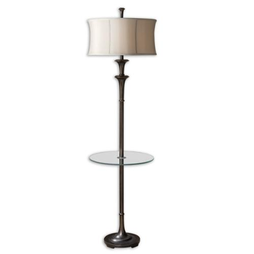 """69"""" Oil Rubbed Bronze, Champagne Round Retro Drum Shade & Glass Tray Floor Lamp"""