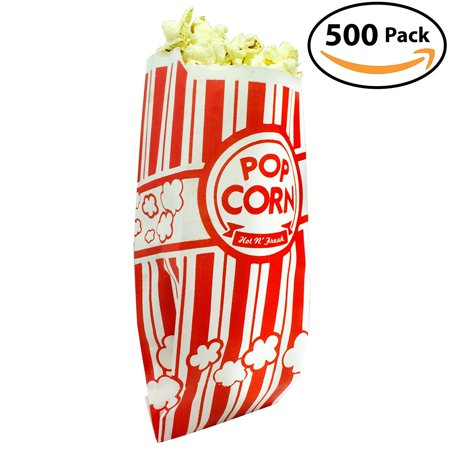 Popcorn Bags Coated for Leak/Tear Resistance. Single Serving 1oz Paper Sleeves in Nostalgic Red/White Design. Great Movie Theme Party Supplies or for Old Fashioned Carnivals & Fundraisers! (500) (Carnival Themes)