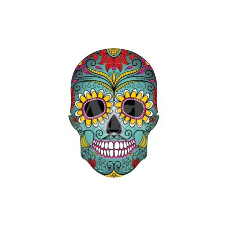 Day of the Dead Colorful Skull with Floral Ornament Print Wall Art By Alisa Foytik - Colorful Skull