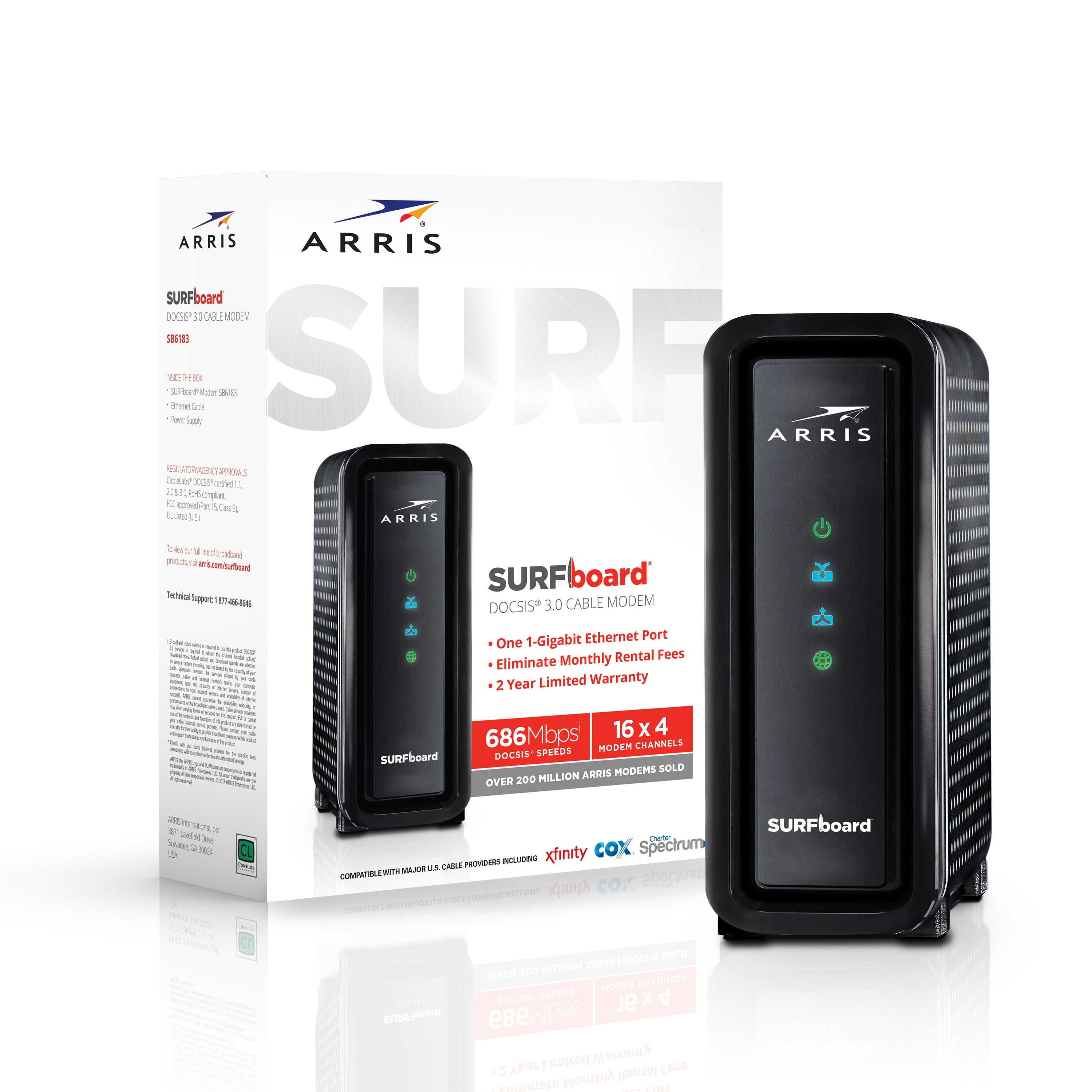 Arris Surfboard 16x4 Docsis 3 0 Cable Modem Approved For Xfinity Comcast Cox Charter And Most Other Cable Internet Providers For Plans Up To 300 Mbps Walmart Com Walmart Com