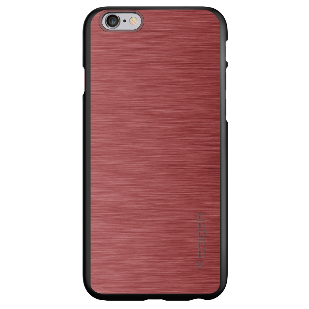"CUSTOM Black Spigen Thin Fit Case for Apple iPhone 6 PLUS / 6S PLUS (5.5"" Screen) - Red Stainless Steel Print"