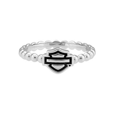 Harley-Davidson Womens Bar & Shield Outline Beaded Stackable Ring Silver HDR0499, Harley Davidson