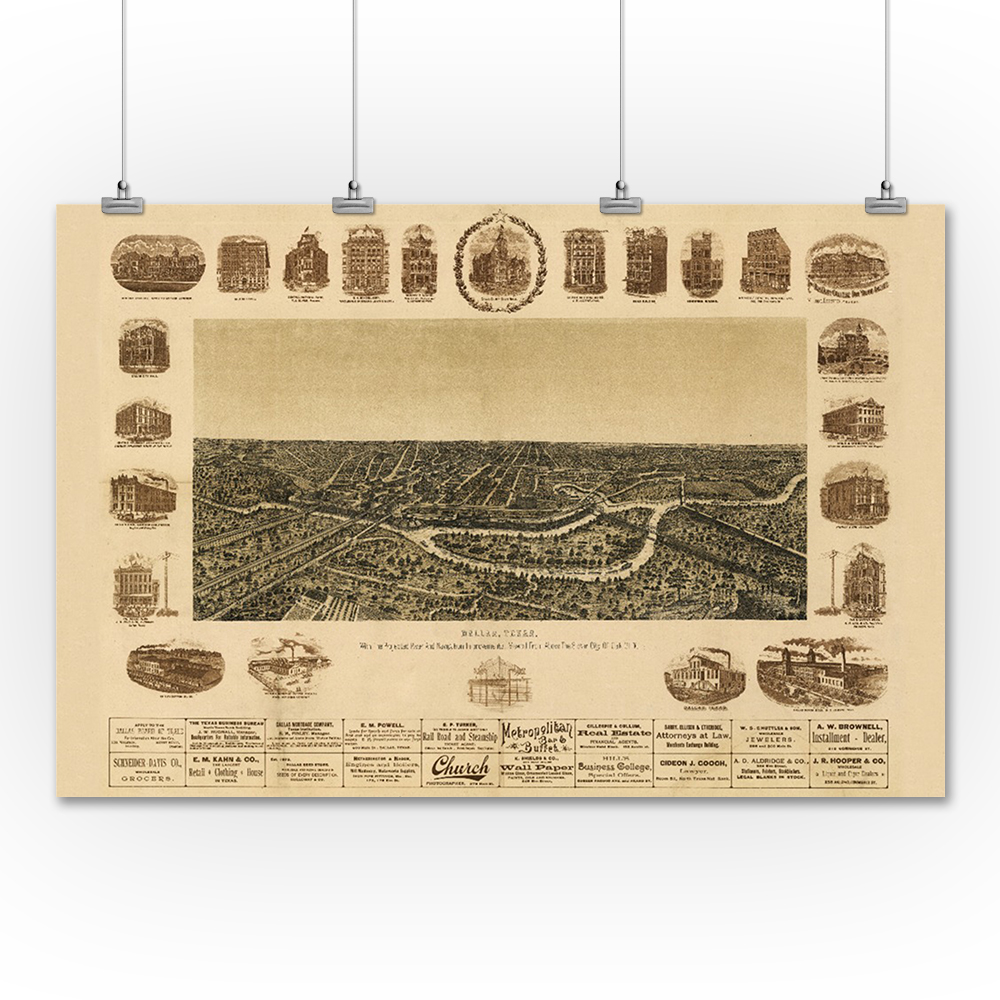 Dallas, Texas - (1892) - Panoramic Map (36x54 Giclee Gallery Print ...