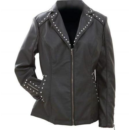 Ladies Black Tailored Faux Leather Studded Jacket, - Tailored Tweed Jacket