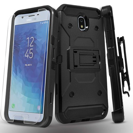 Glass Top Amp (Galaxy J3 Orbit, Galaxy J3 V 3rd Gen, J3 Achieve, J3 Star, J3 Aura, Sol 3, Express Prime 3, Amp Prime 3 Case, W/ [Glass Protector], [Tank Armor] Full Coverage Dual Layer Phone Cover w/ Belt Clip-Black )