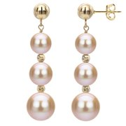 DaVonna  Pink Freshwater Graduated Pearl and Beads Dangle Earring