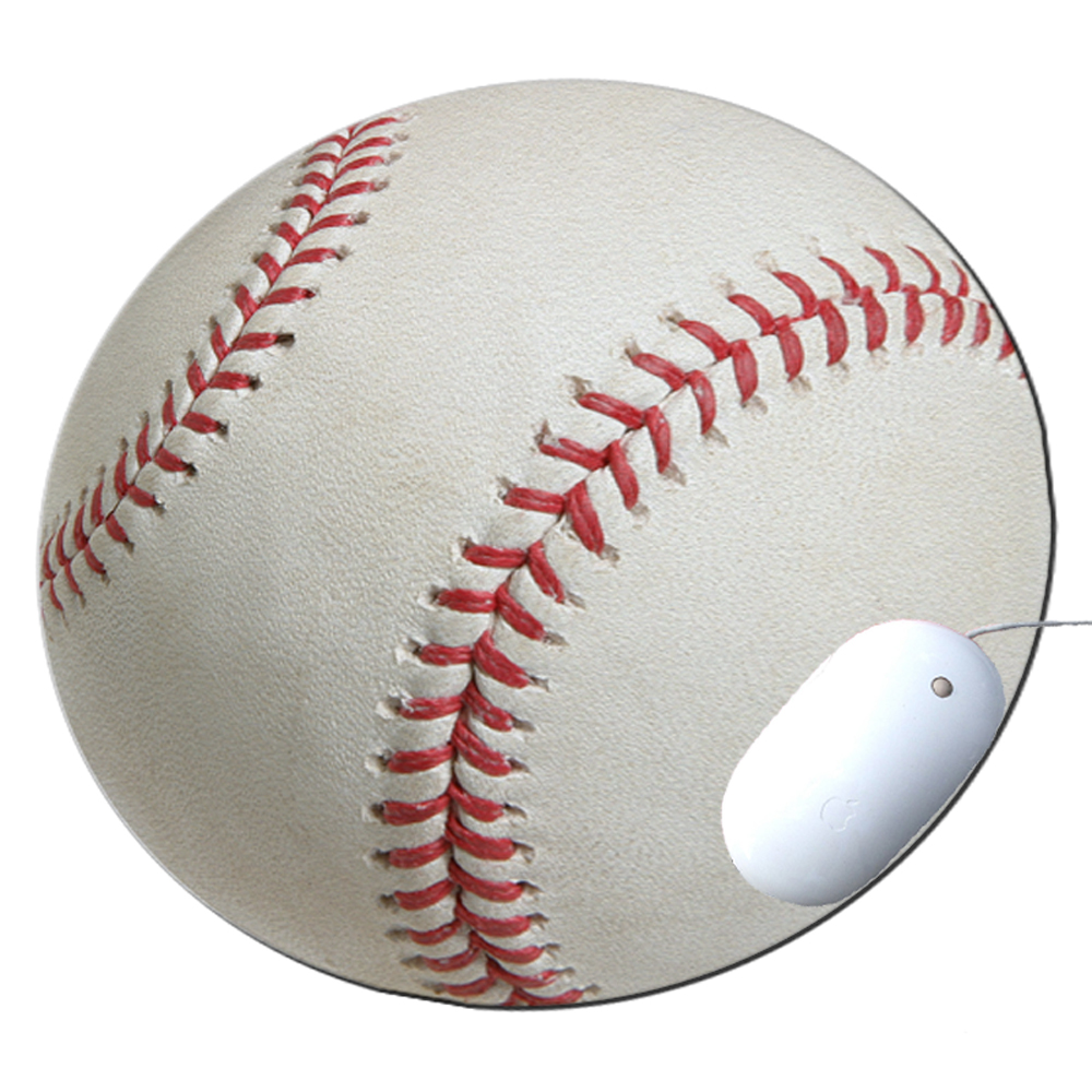 KuzmarK Round Mousepad / Hot Pad / Trivet - Baseball