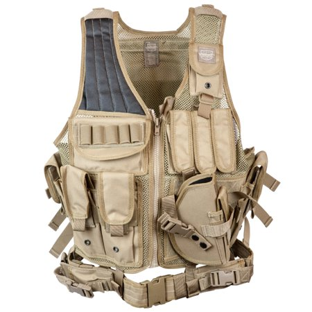 Valken Tactical Cross Draw Vest with Magazine and Pistol Holster Hydration  Pack Ready with Belt