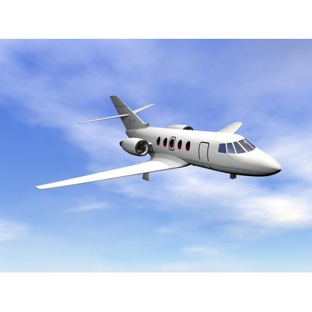 Private jet plane flying in cloudy blue sky Poster Print - Jets Flying