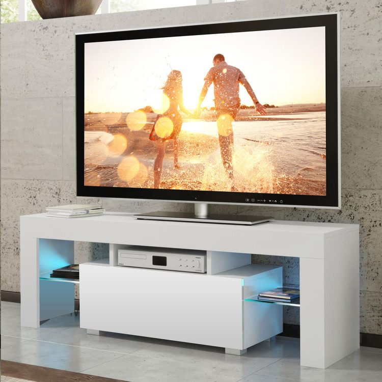 Modern TV Unit 130cm Cabinet Stands with Glasses Doors White Matt and White High Gloss + 2 FREE LED