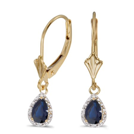 Pear Shape Sapphire Earrings (10k Yellow Gold Pear Sapphire And Diamond Leverback)