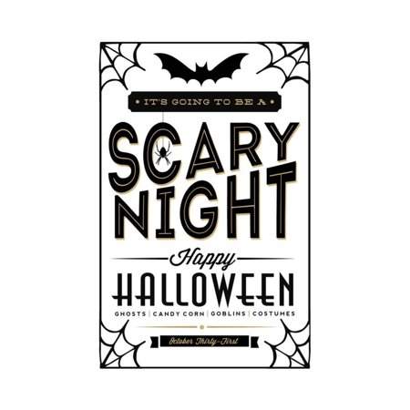 Happy Halloween - Black on White Typography Print Wall Art By Lantern Press (Happy Halloween Clip Art)
