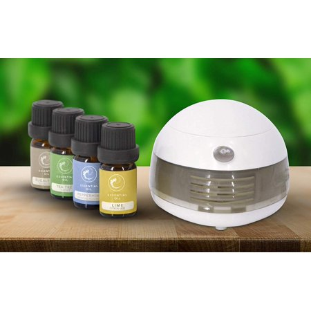 Portable Oil Aroma Diffuser Aromatherapy + 4 Essential Oils Bottles Included Gift Set - Kit - 5 Items Bundle Pack (Plus Aromatherapy)