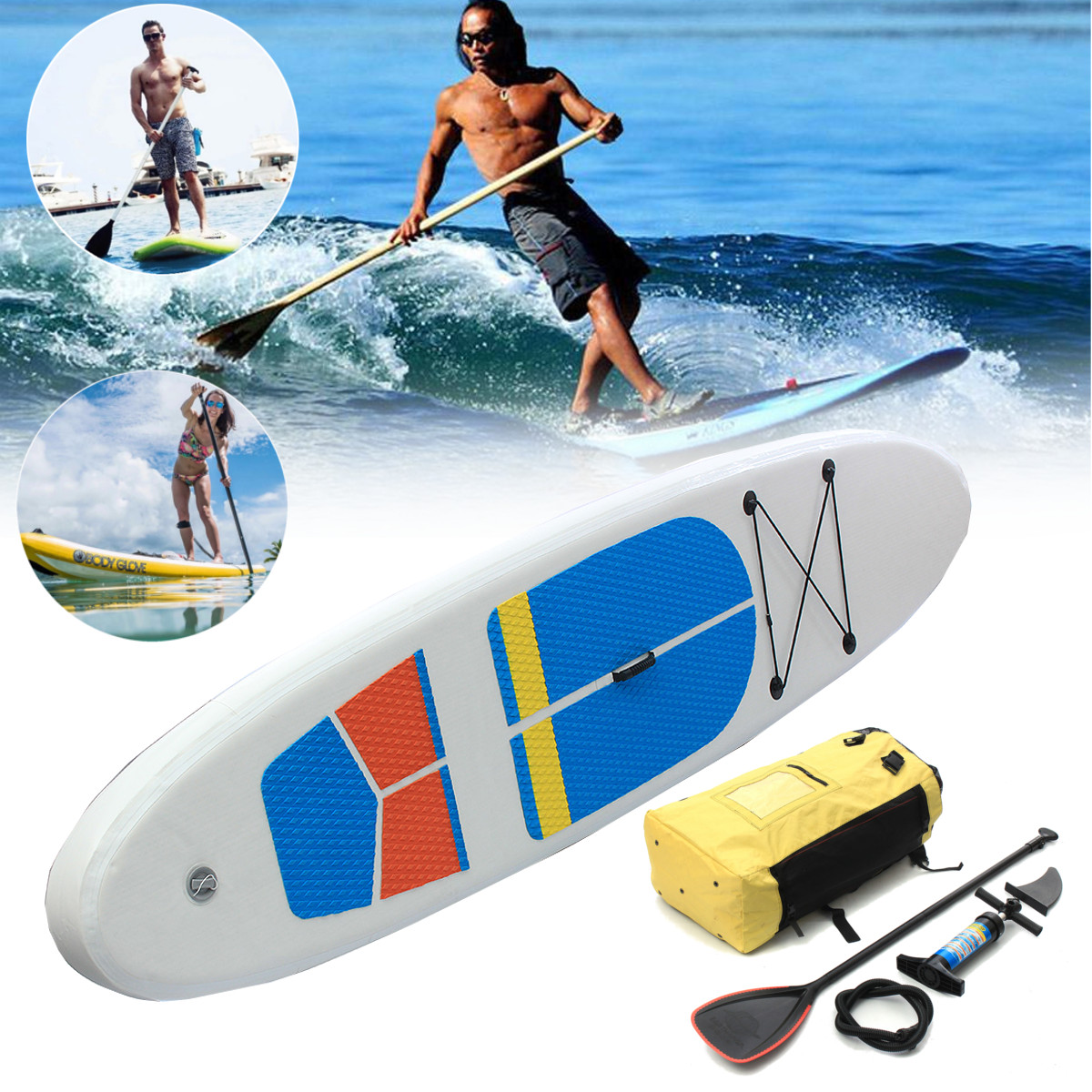 10ft x 2.5ft SUP Stand Up Paddle Surfboard Inflatable Board with Travel Backpack Hand Pump handpump for Surfing/ Aqua Yoga/Fishing