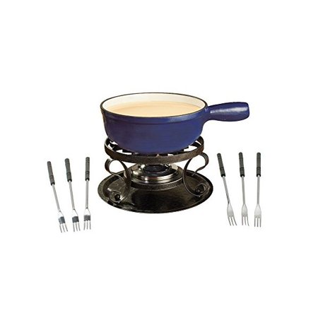 Swissmar KF-66518 Lugano 2-Quart Cast Iron Cheese Fondue Set, 9-Piece, Deep Blue ()