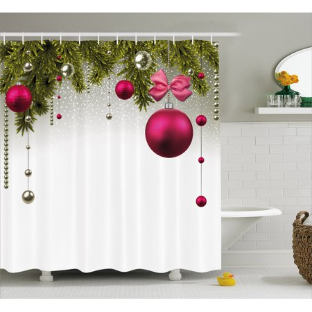 Christmas Shower Curtain, Vivid Fir Twigs and Magenta Balls Framework Special Day Preparation, Fabric Bathroom Set with Hooks, 69W X 75L Inches Long, Magenta Olive Green Grey, by Ambesonne