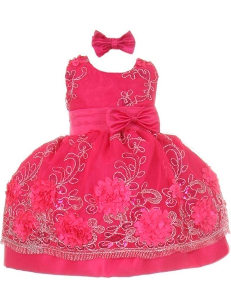 Baby Girls Fuchsia Floral Pattern Satin Flower Girl Bubble Dress 3M