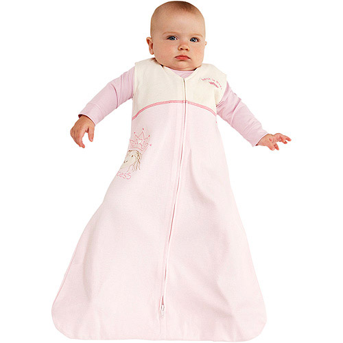 Halo - SleepSack Wearable Cotton Blanket, Pink Princess Applique, Medium