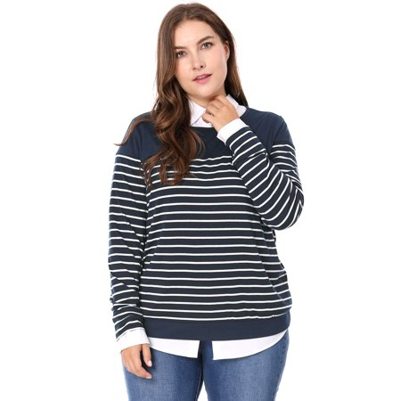 Women Plus Size Round Neck Long Sleeves Striped T-shirt Blue 3X - image 7 of 7