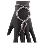 Gun Metal Snake Adjustable Finger Ring and Hand Chain Bracelet
