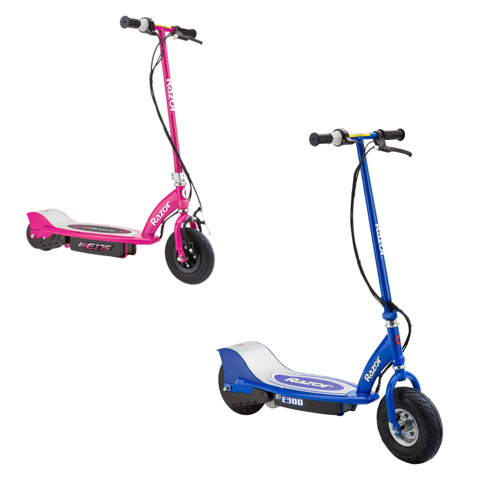Razor Electric Rechargeable Motorized Ride On Kids Scooters, 1 Blue & 1 Pink