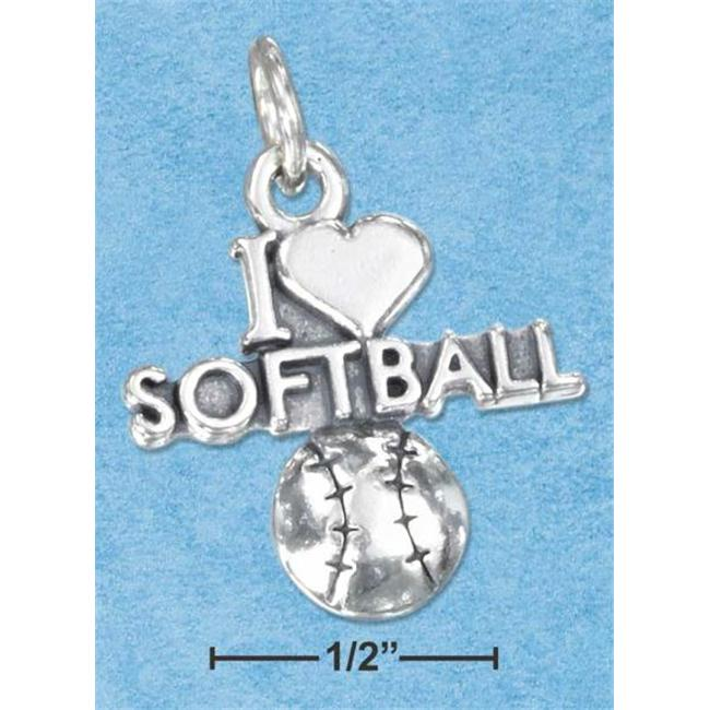 Sterling Silver Antiqued I Heart Softball Charm with A Softball