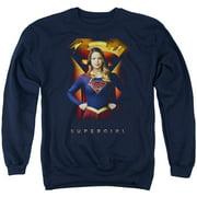 Supergirl Standing Symbol Mens Crew Neck Sweatshirt
