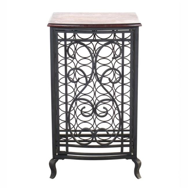 Legacy Home LTD 32-104LLT 18.5 x 31.5 in. Open Design Wine Storage Cabinet With Wood Table Top - Oil Rubbed Bronze