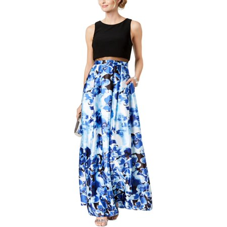 Betsy & Adam Women's Petite Illusion Floral-Print Gown - Morticia Addams Dresses