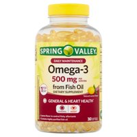 Spring Valley Omega-3 Fish Oil Softgels, 500 mg, 360 Count