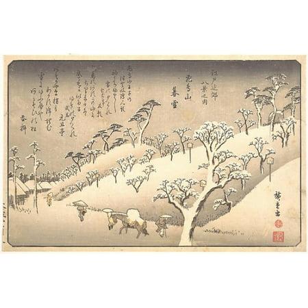 "(Asukayama Bosetsu Asukayama in the Snow at Evening Poster Print by Utagawa Hiroshige (Japanese Tokyo (Edo) 1797  ""1858 Tokyo (Edo)) (18 x 24))"